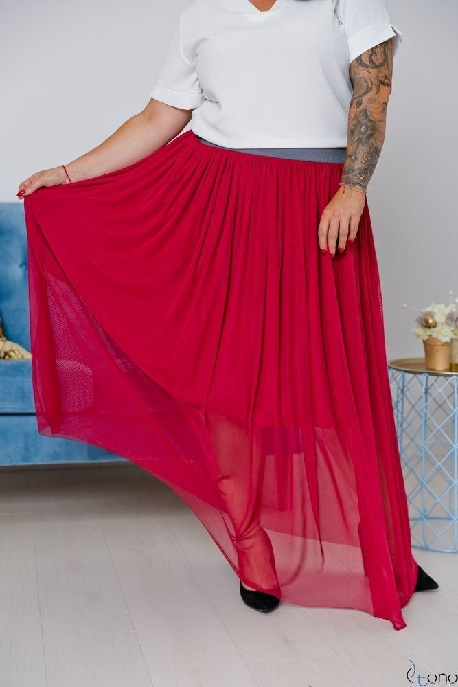 Bordowa Spódnica VIMMI Plus Size