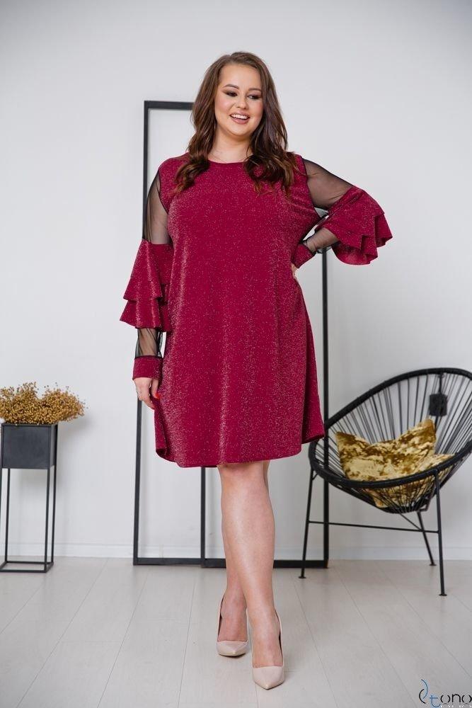 Bordowa Sukienka CATIVA Plus Size