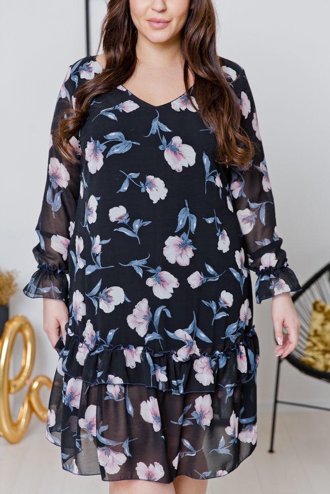 Czarna Sukienka ARIEL Plus Size Wzór 4