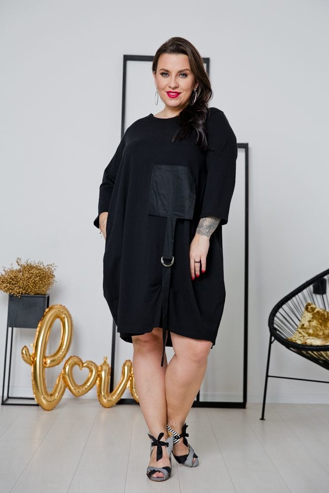 Czarna Sukienka CALAMA Plus Size