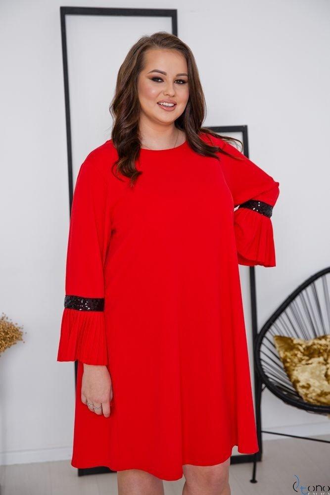 Czerwona Sukienka NEGRI Plus Size