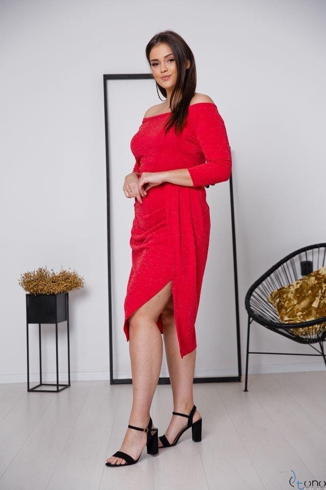 Czerwona Sukienka SISIE Plus Size