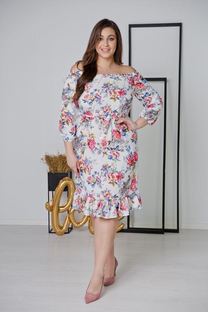 Ecru Sukienka ESPANA Plus Size Wzór 5