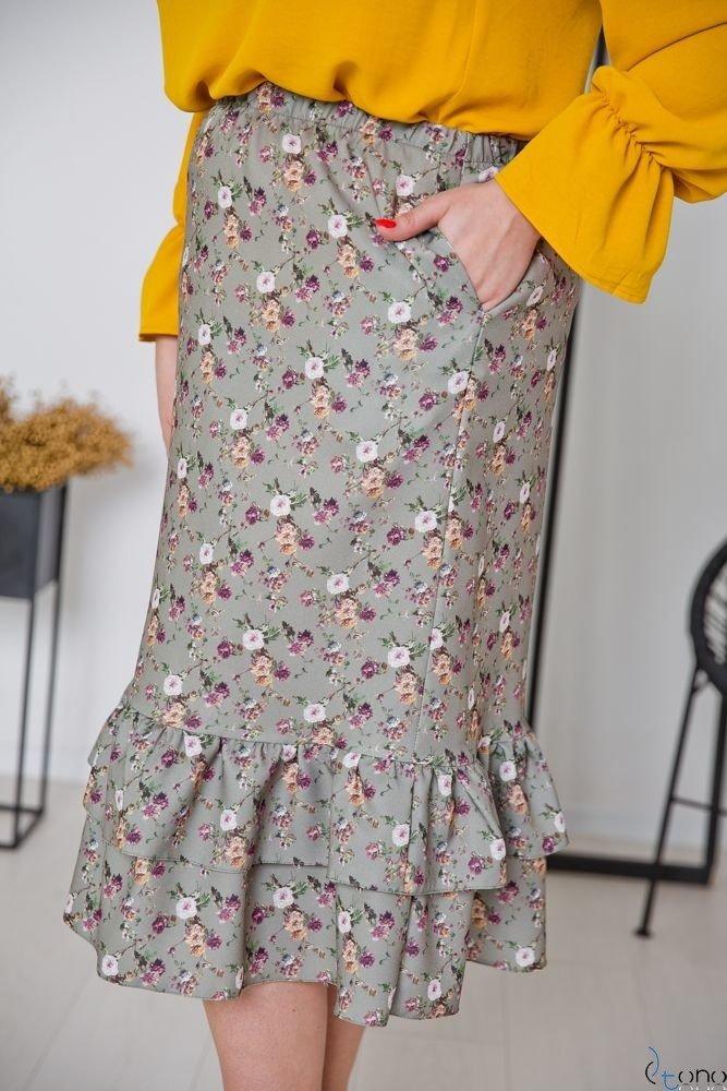 Oliwkowa Spódnica BILOU Plus Size