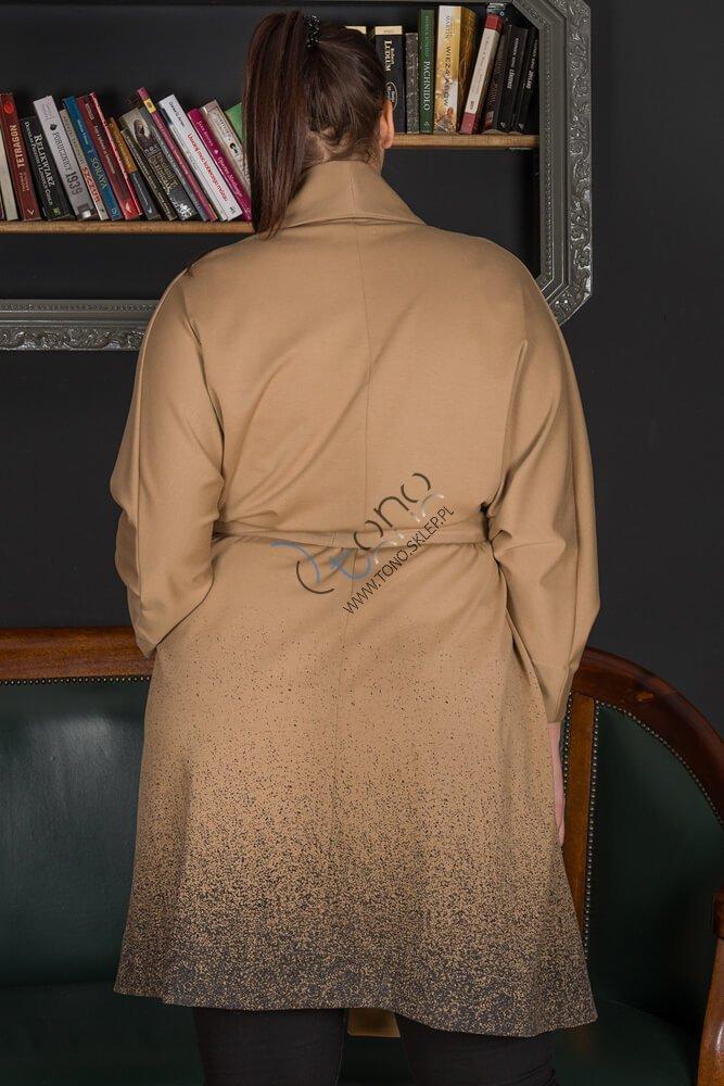 Beżowy Płaszcz DUNAS Designerski Oversize