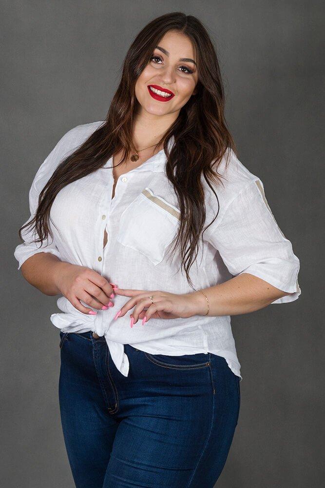 Biała Koszula FIDELIA Len Plus Size