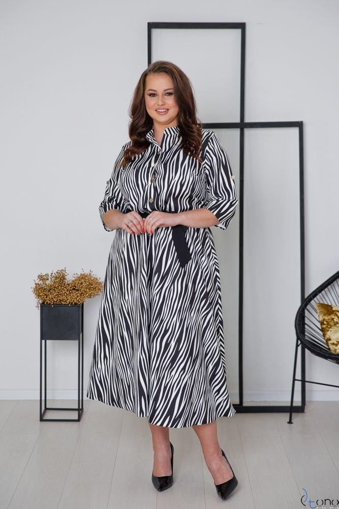 Biało-Czarna Sukienka RAVELA Plus Size