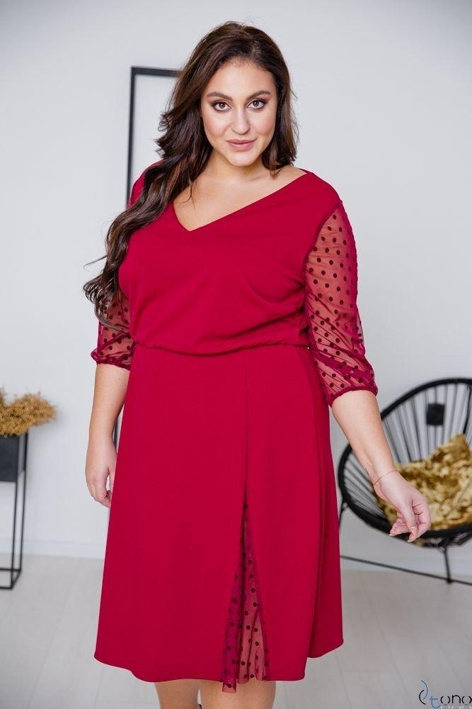 Bordowa Sukienka INGA Plus Size