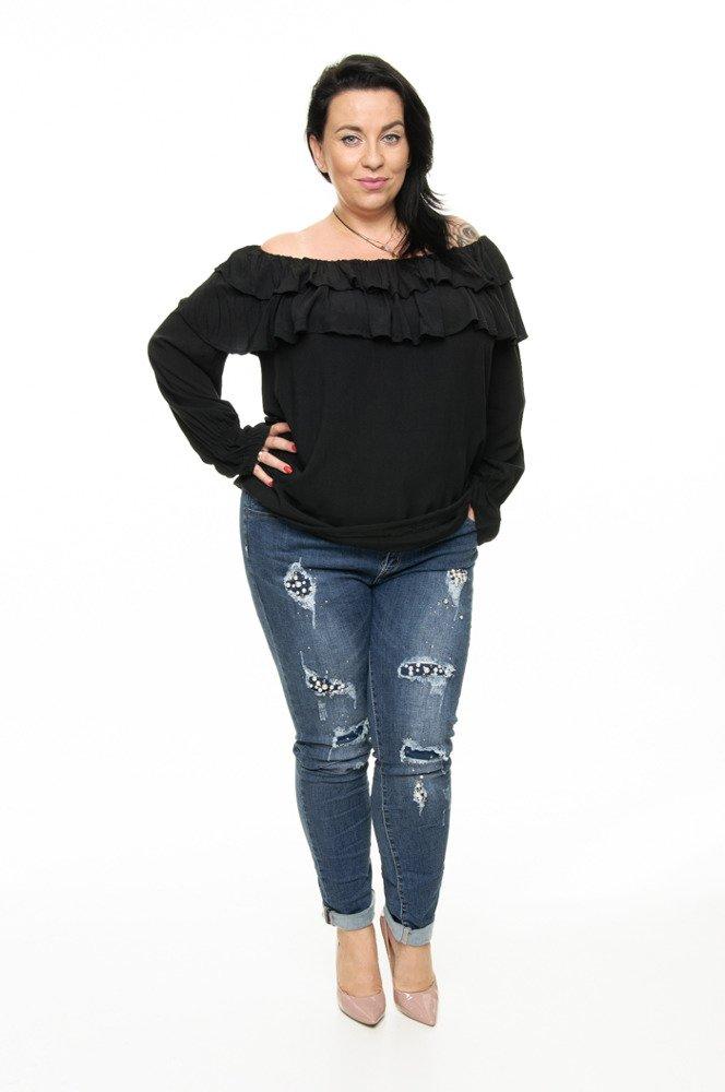 Czarna Bluzka BASTIA Hiszpanka Koszulowa Modna Plus Size