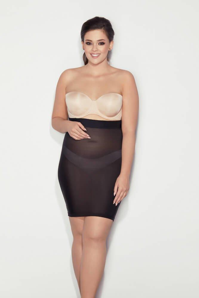 Czarna wyszczuplająca halka plus size SOFTLY DRESS