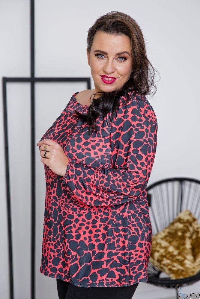 Czarno-Czerwona Bluzka SAVALA Plus Size