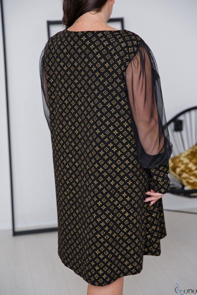 Czarno-Złota Sukienka LUSSIE Plus Size