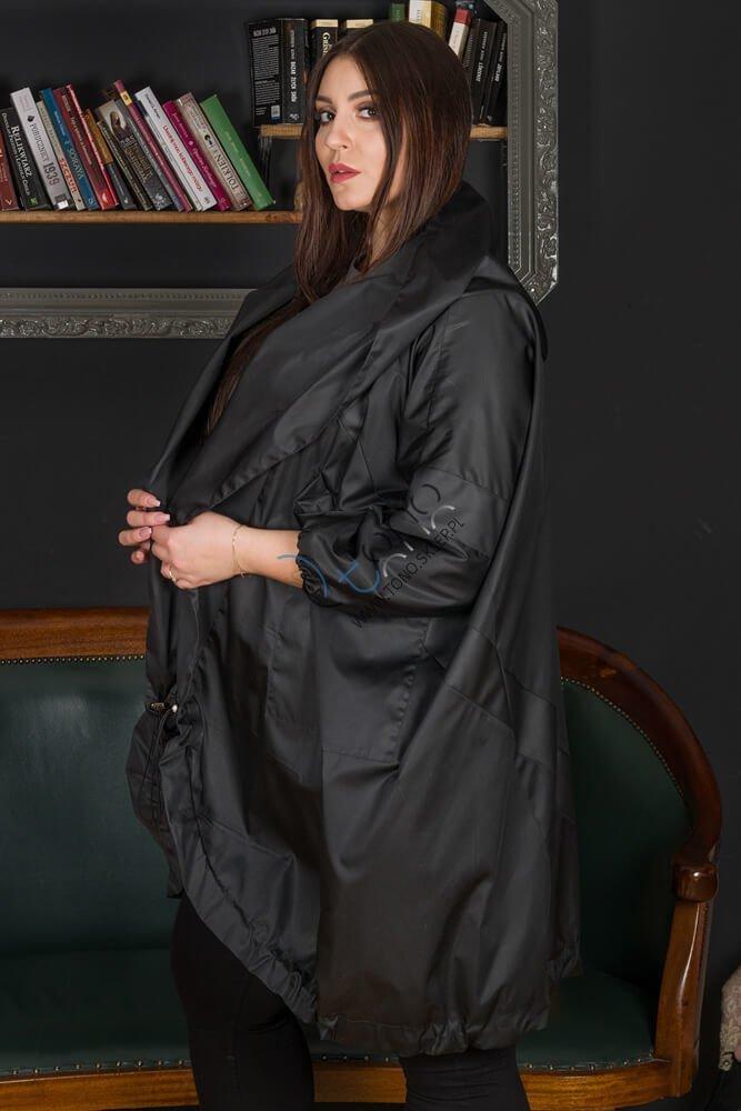 Czarny płaszcz LINGUA Designerski Oversize