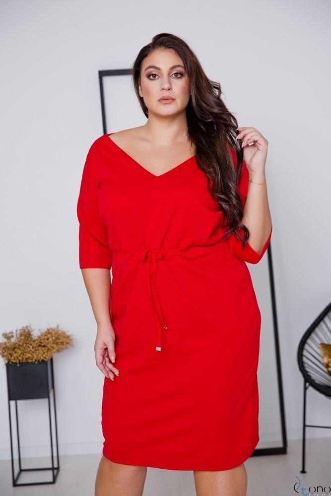 Czerwona Sukienka ELMIRA Plus Size