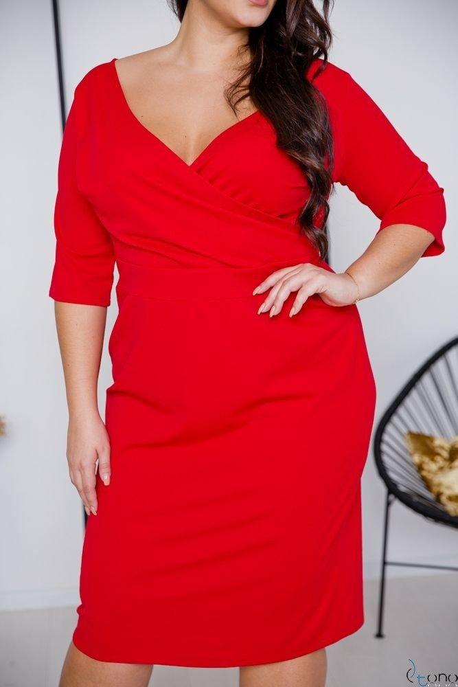 Czerwona Sukienka GASPAR Plus Size
