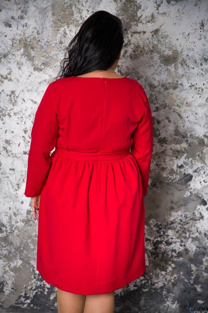 Czerwona Sukienka MAKAN Kopertowa Plus Size