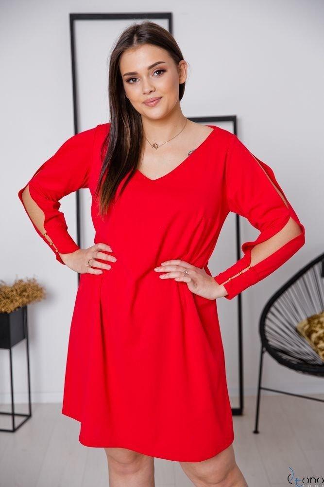Czerwona Sukienka NADALL Plus Size