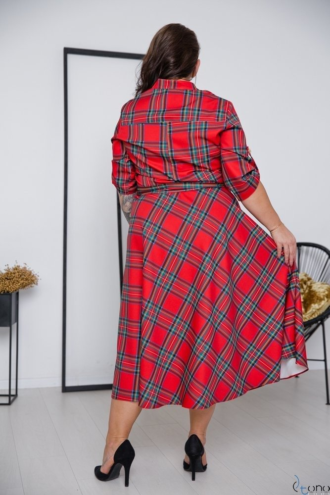 Czerwona Sukienka RAVELA Plus Size