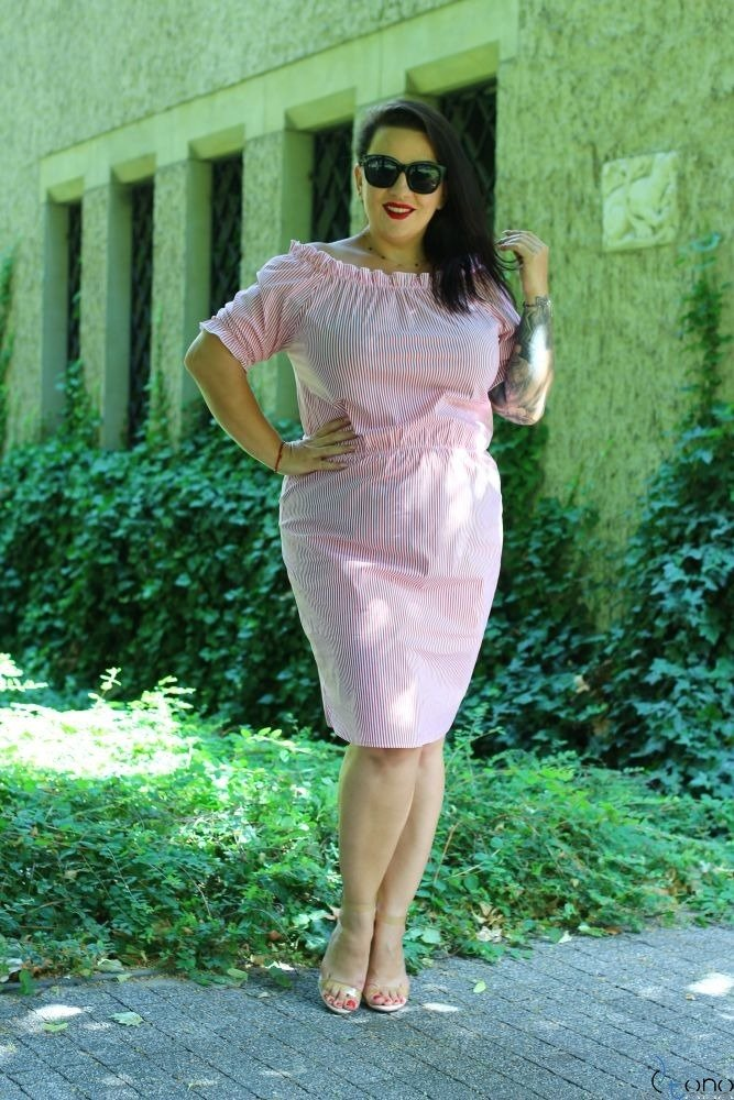 Czerwono-Biała Sukienka ALINE Plus Size