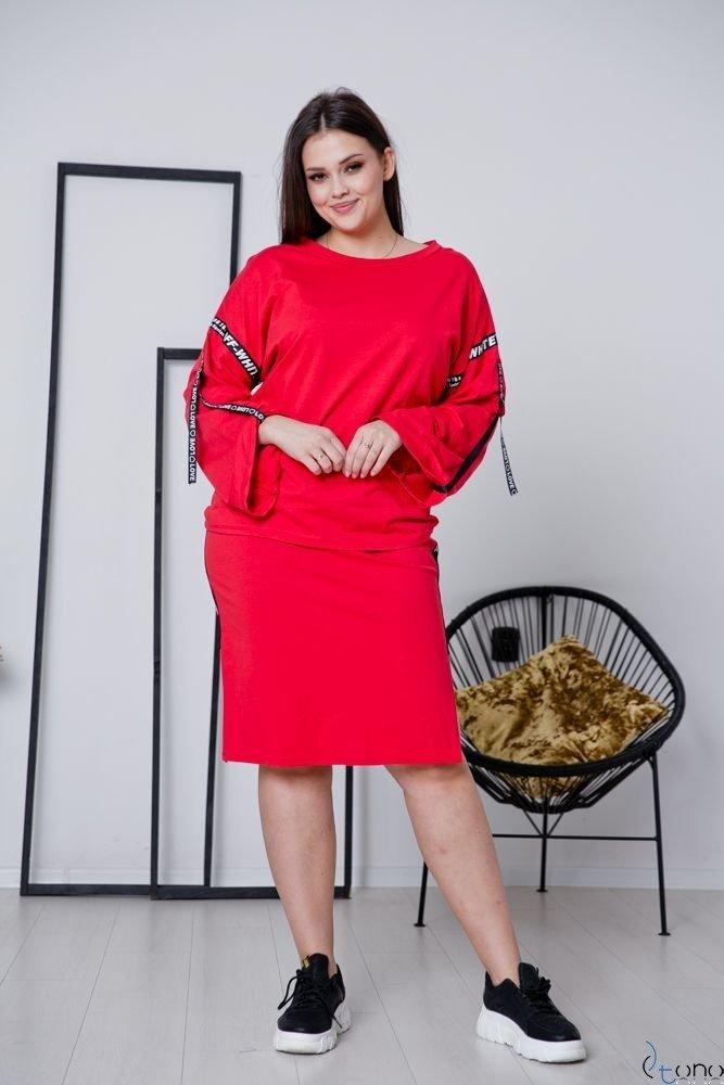 Czerwony Komplet LIVER Plus Size