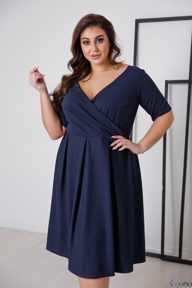 Granatowa Sukienka FALON Plus Size