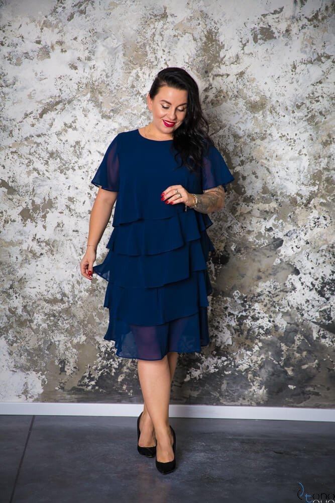 Granatowa Sukienka ORINA Plus Size