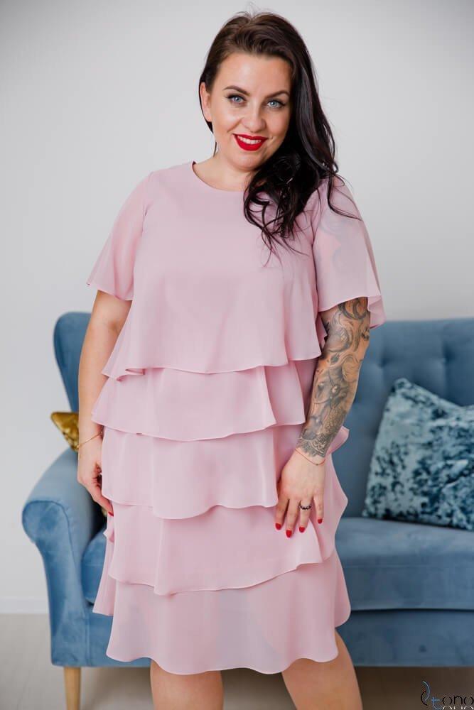 Pudrowo różowa Sukienka ORINA Plus Size