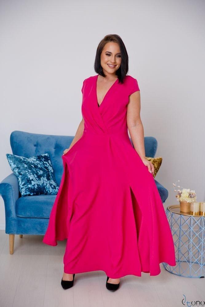 Różowa Sukienka LOREDANA Plus Size