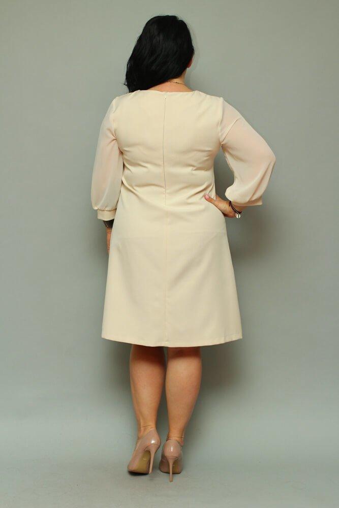 Sukienka FATICA Szyfon Plus Size Beżowa