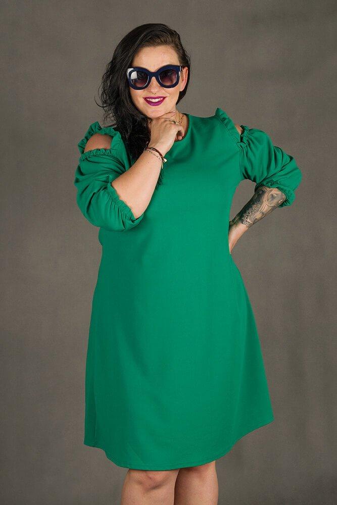 Zielona Sukienka POLLY Trapezowa Plus Size